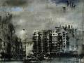 D. Cestari, La nube solitaria fugge, olio su tela, cm. 140x150, 2015