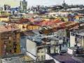Marina Previtali, Tetti su Milano, olio su tela, 2018, cm. 148x130