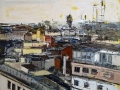Marina Previtali, Veduta Milano, olio su tela, cm. 103x85 2017