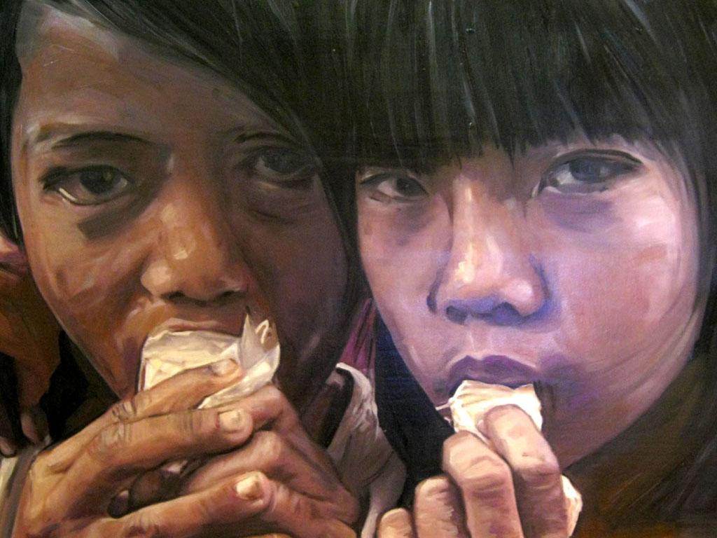 M. Falsini, La terra è donna e madre, tecnica mista, cm.51x85, 2011