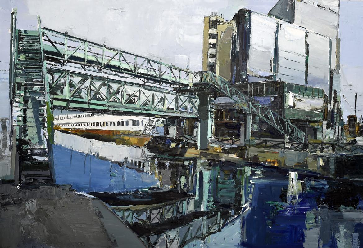 Marina Previtali, Ponte sul Naviglio Ticinese, MI, olio su tela, 2017, cm. 210x141