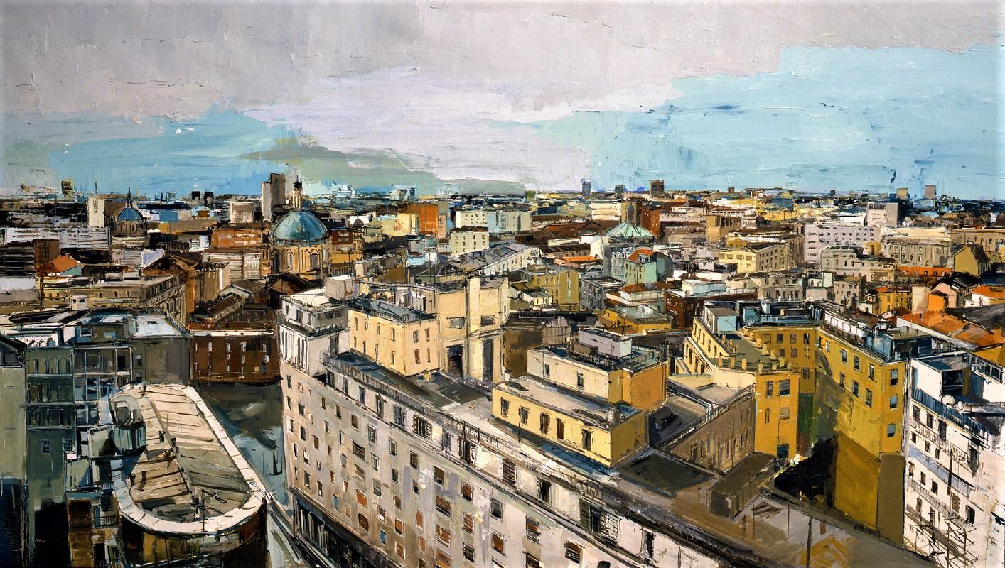 Marina Previtali, Veduta Milano, olio su tela, cm. 210x121, 2011