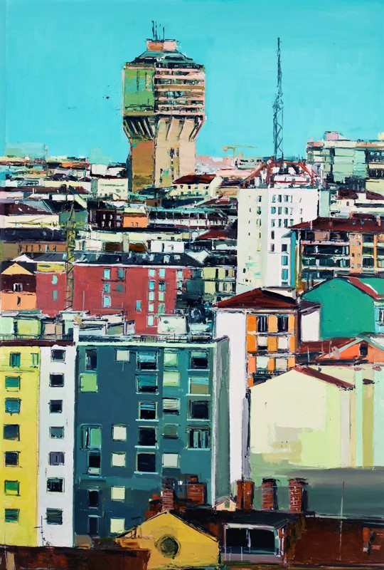 Marina Previtali, Velasca da Torre Richard Ginory, MI, olio su tela, cm. 171x115,  2016