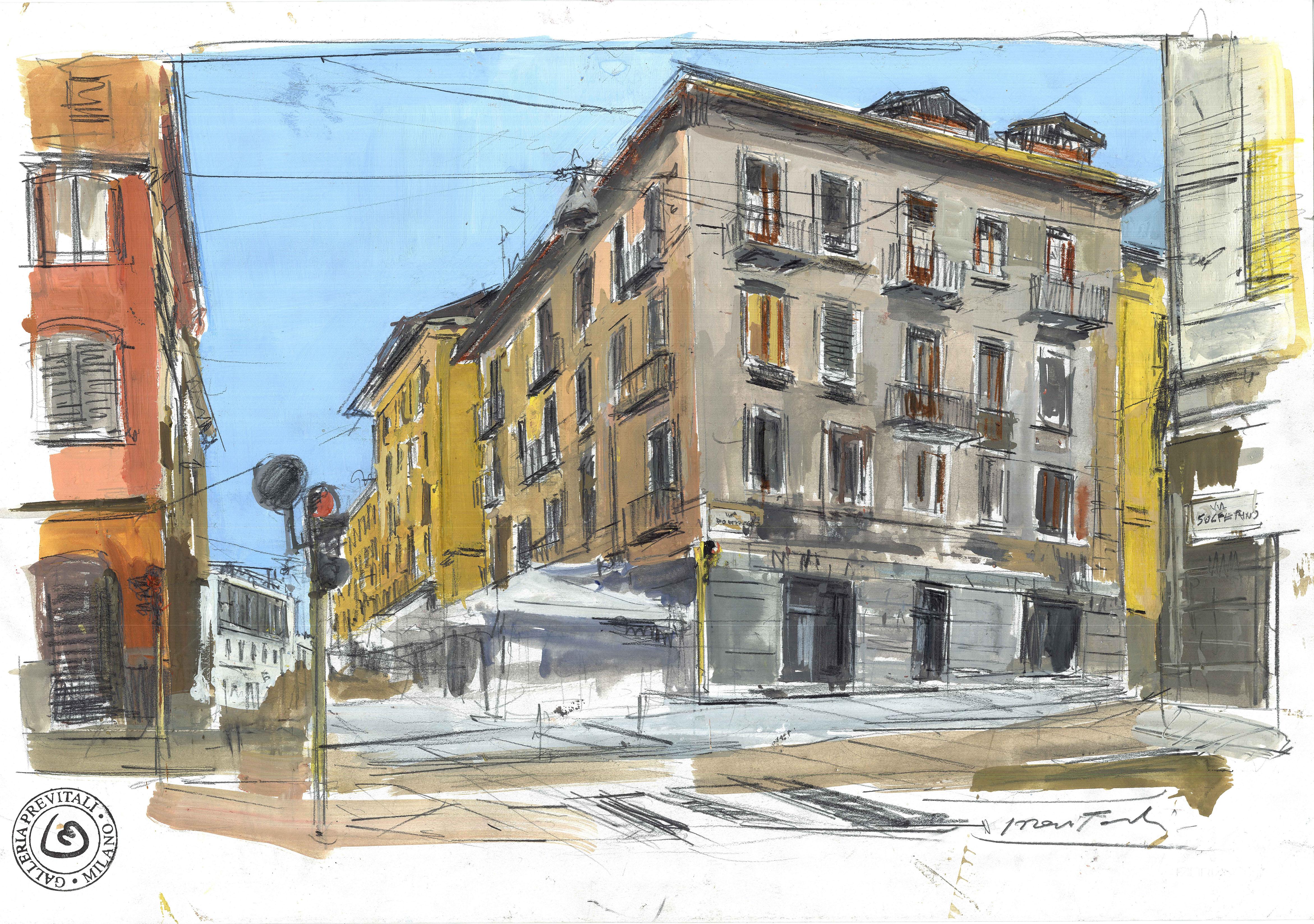 M. Previtali, Brera, Milano, tecnica mista su carta, 2015