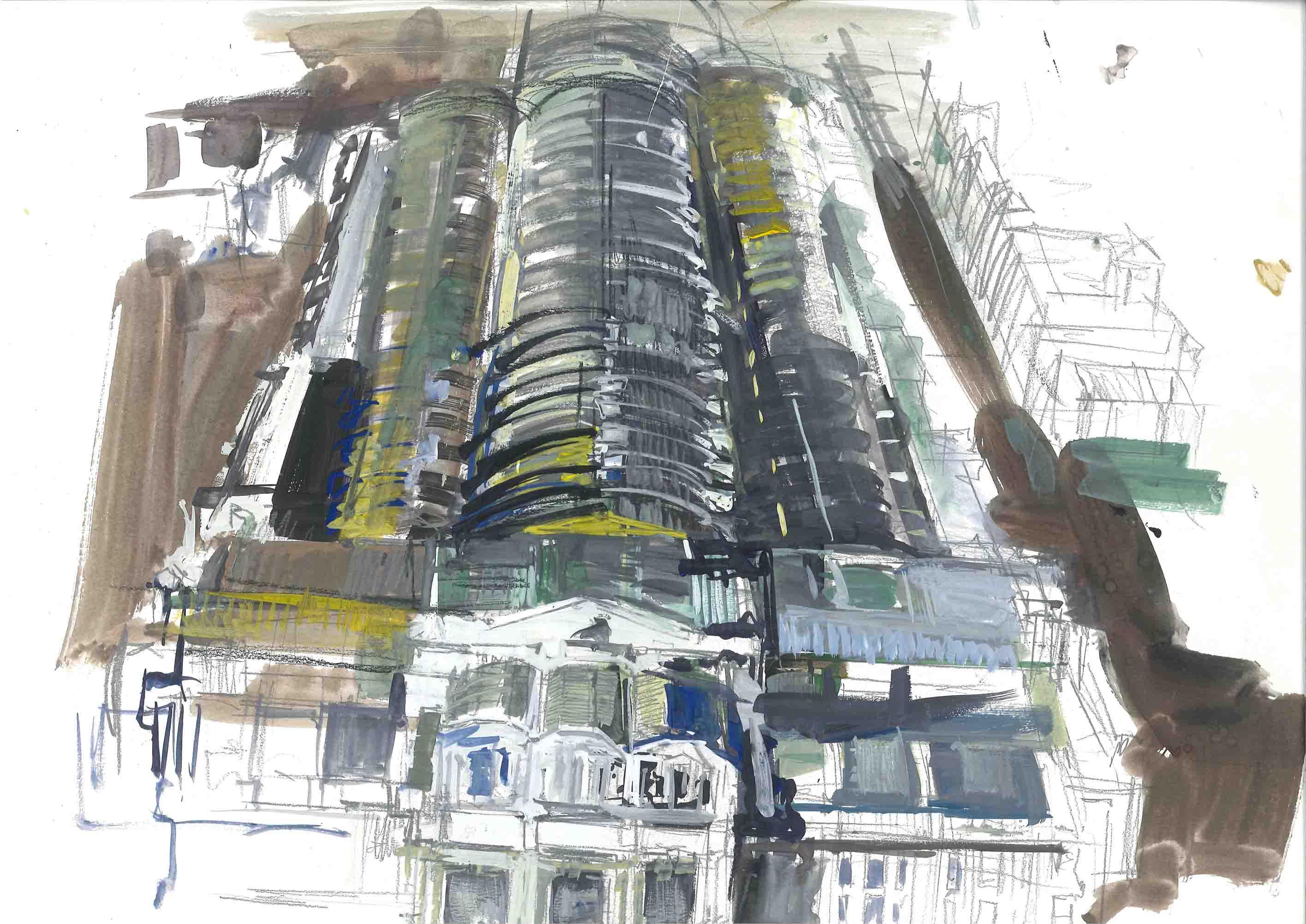 M. Previtali, Centrale Milano, tecnica mista su carta, 2011
