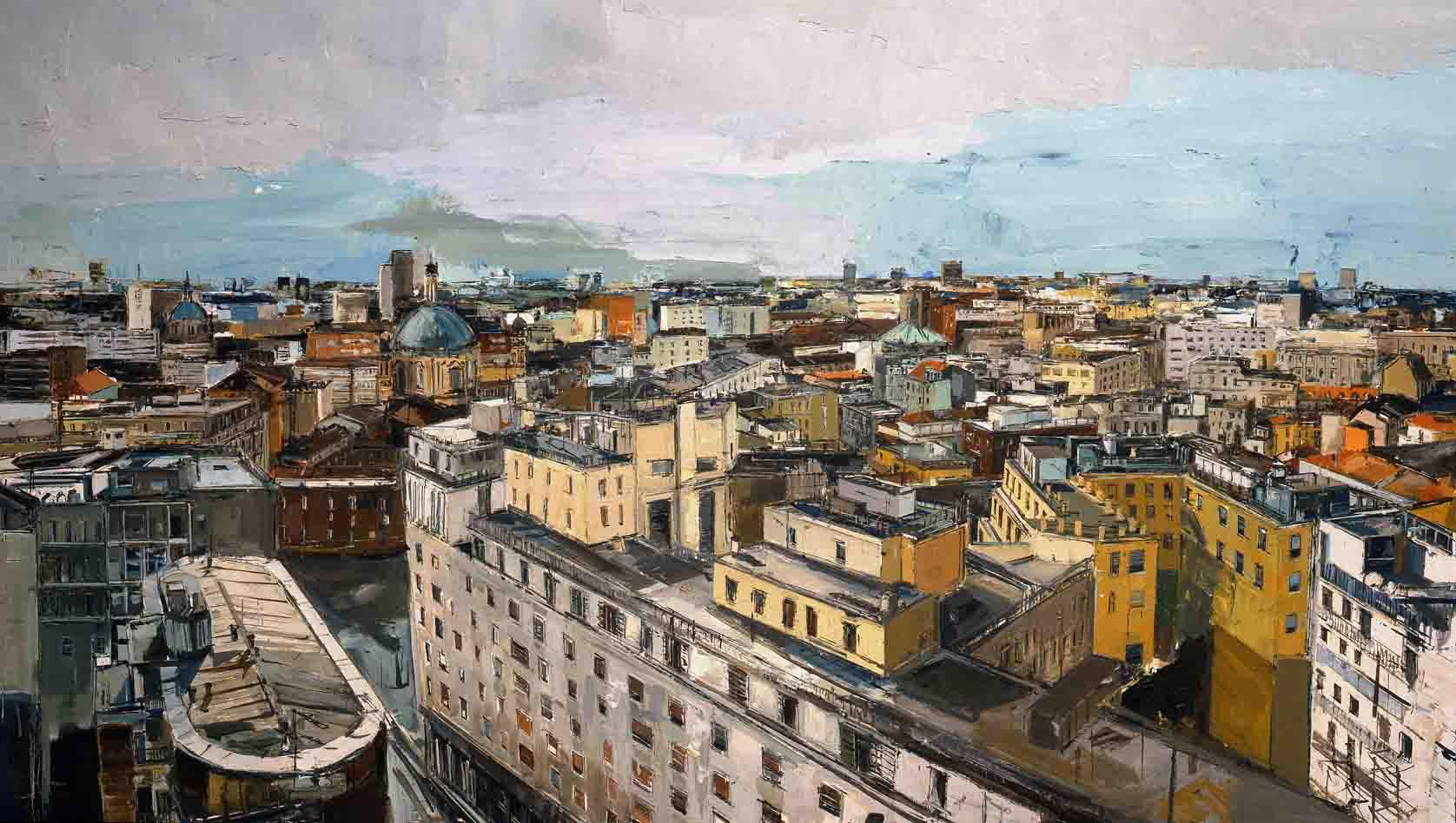 M. Previtali, Milano, olio su tela, 224x120, 2013