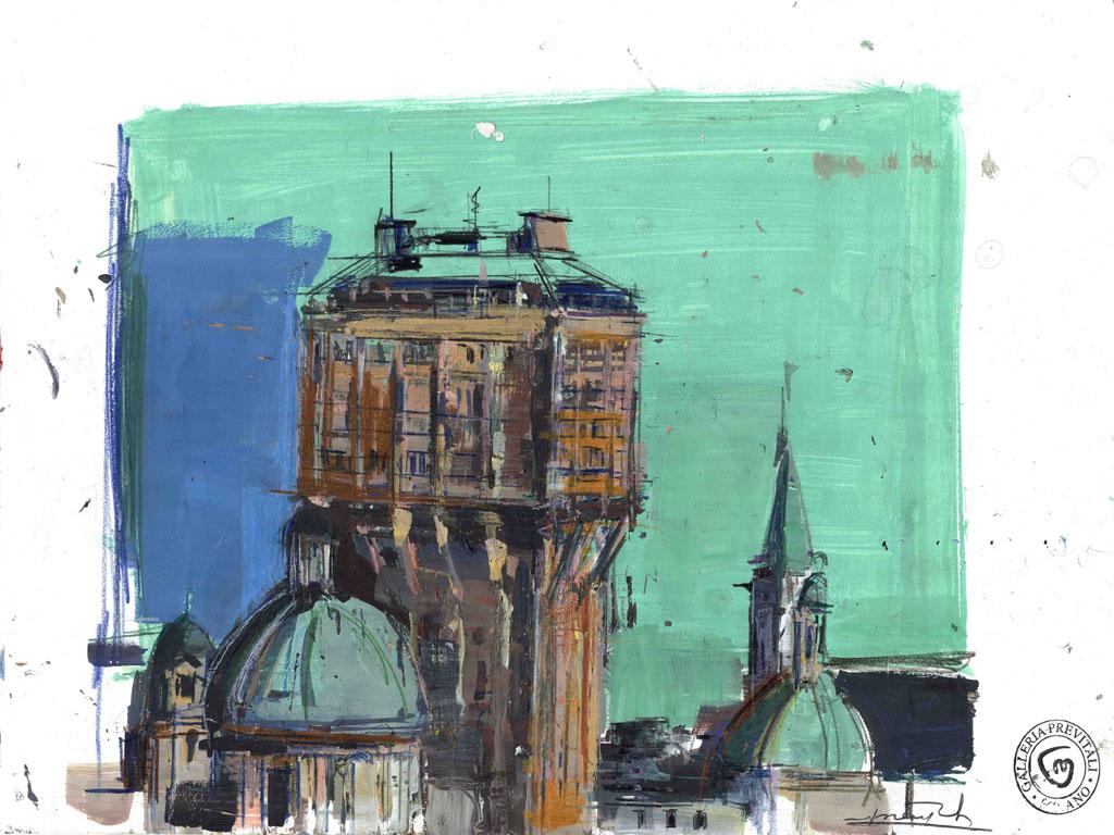 M. Previtali, Torre Velasca, MI, tecnica mista su carta, 2010
