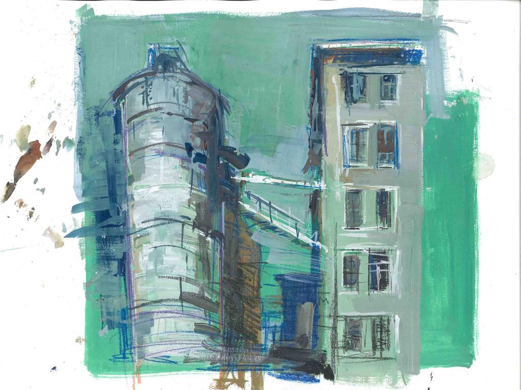 M. Previtali, Via Rogoredo, MI, tecnica mista su carta, 2010