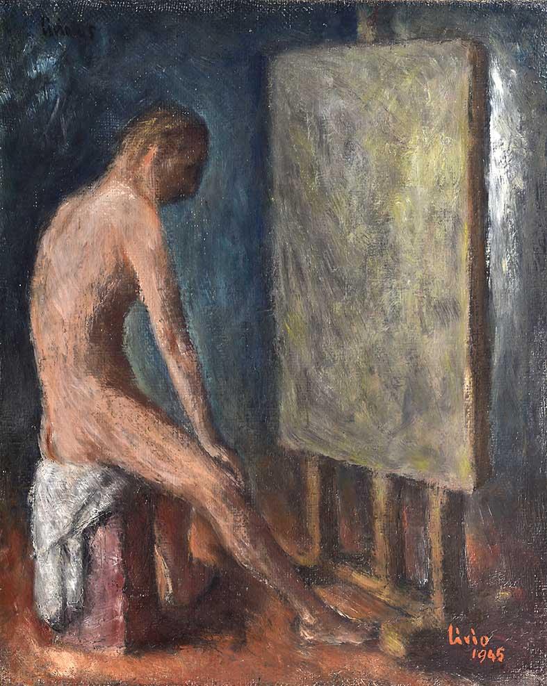31 _DSC4351Bassa (Uomo davanti al cavalletto 45x55 1945 olio su tela)